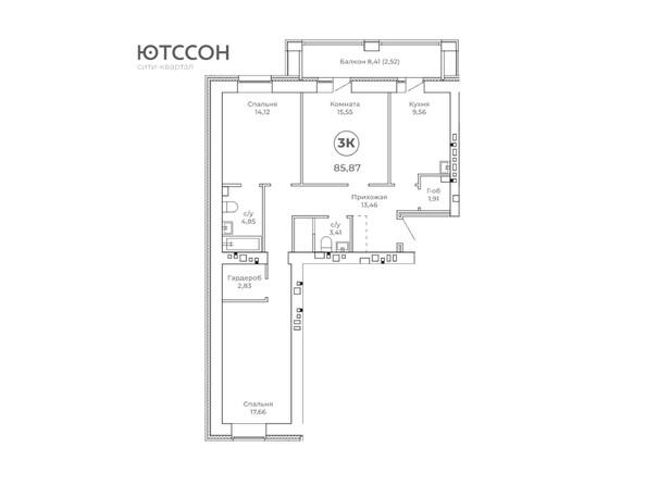 3-комнатная 85.87 кв.м