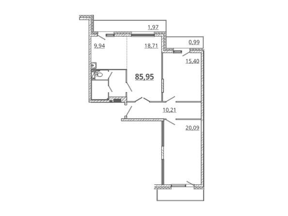 Планировка 3-комн 85,95, 86 м²