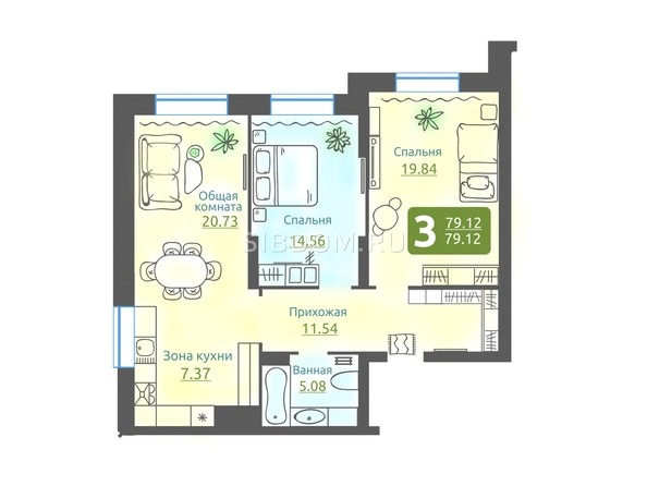 Планировка 3-комн 79,12 м²