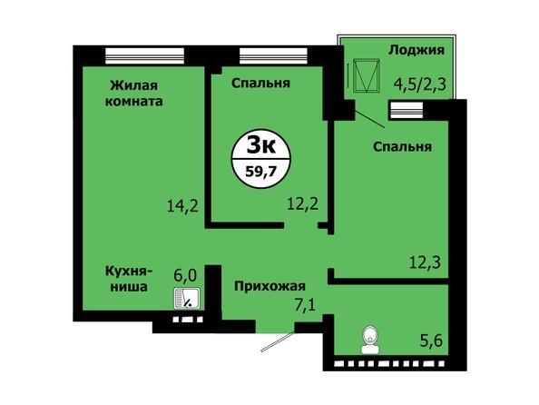 Планировка 3-комн 59,6, 59,7 м²
