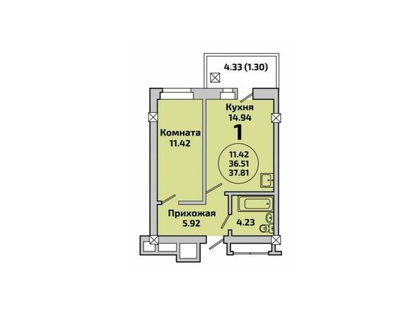 Планировки Жилой комплекс РОДНИКИ, дом 451 - Планировка однокомнатной квартиры 37,81 кв.м