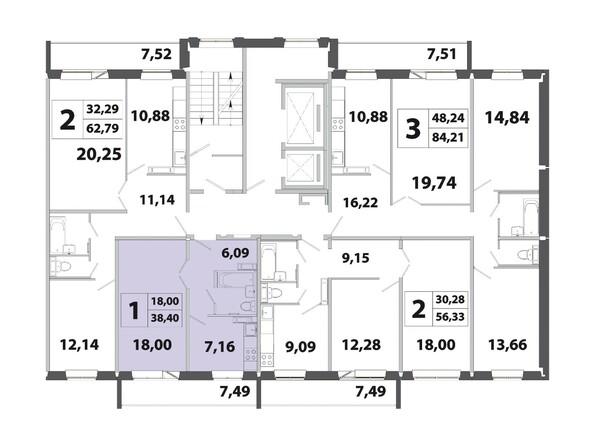 Планировки Жилой комплекс РАДОНЕЖСКИЙ, КПД-3 - Планировка двухкомнатной квартиры 38,40 кв.м