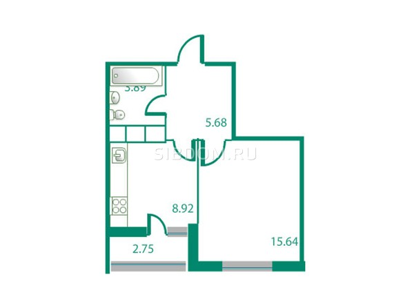 Планировки Жилой комплекс ИЗУМРУДНЫЙ БЕРЕГ, дом 1.2  - Планировка однокомнатной квартиры 35,51 кв.м