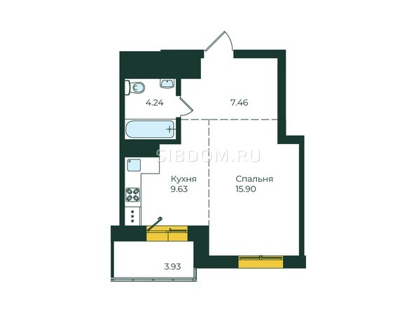1-комнатная 41,16 кв.м