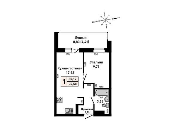 Планировки Жилой комплекс РУБИН - 1-комнатная 39,58 кв.м
