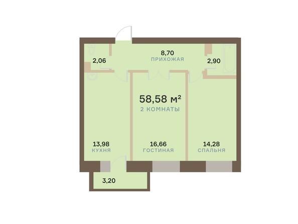 Планировки Жилой комплекс АЛЕКСАНДРОВСКИЙ, дом 1 - 2-комнатная 58,58 кв.м