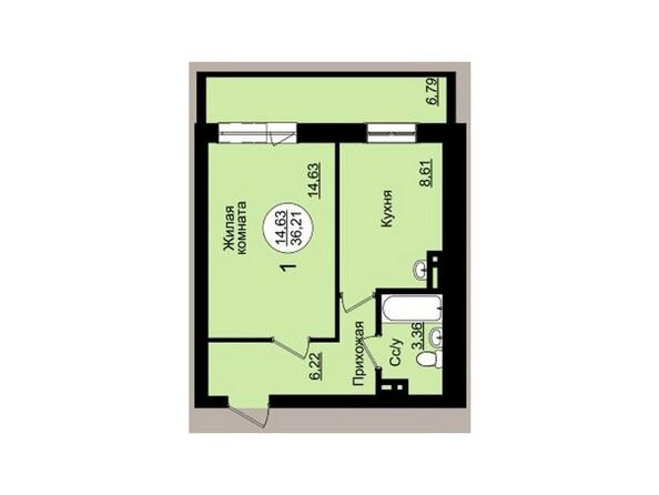 Планировки Жилой комплекс ГВАРДЕЙСКИЙ - Планировка однокомнатной квартиры 36,27 кв.м