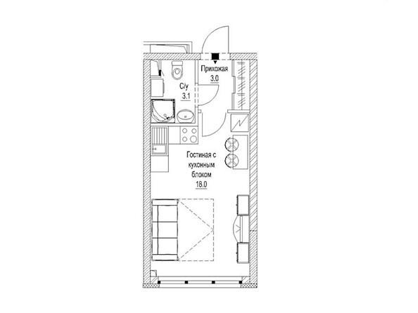Планировка Студия 24,2, 24,5 м²