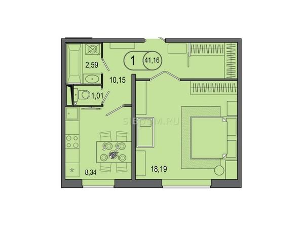 Планировка 1-комн 41,16 м²