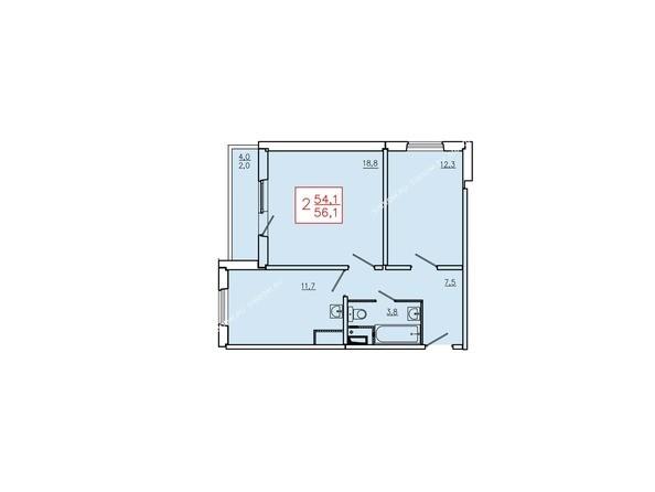 Планировки Жилой комплекс КУРЧАТОВА, дом 6, стр 2 - Планировка двухкомнатной квартиры 56,1 кв.м. Этаж 17