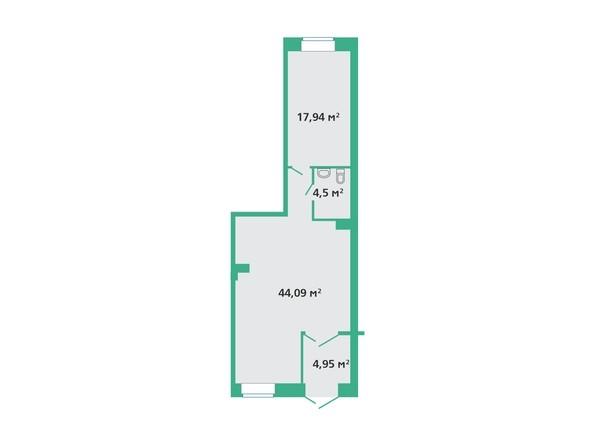 Планировка  44,09, 71,48 м²