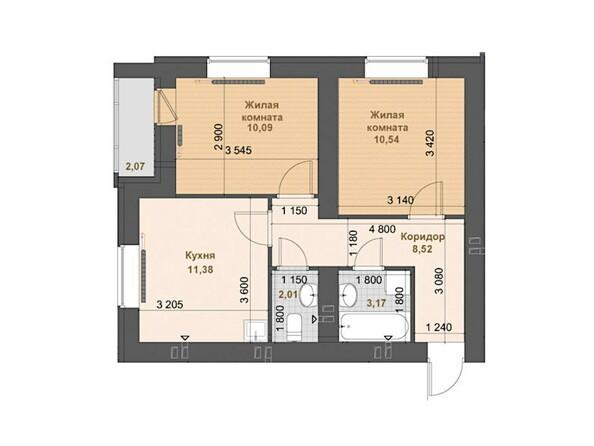 2-комнатная 45.71 - 46.83 кв.м