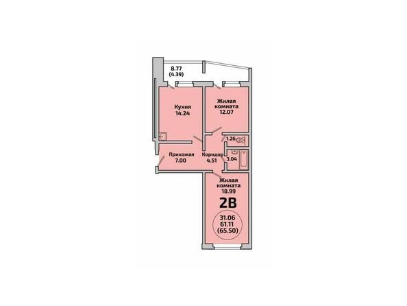 Планировки Жилой комплекс РОДНИКИ, дом 452 - Планировка двухкомнатной квартиры 65,5 кв.м