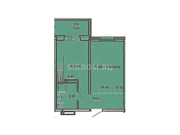 Планировка 1-комн 34,89 м²
