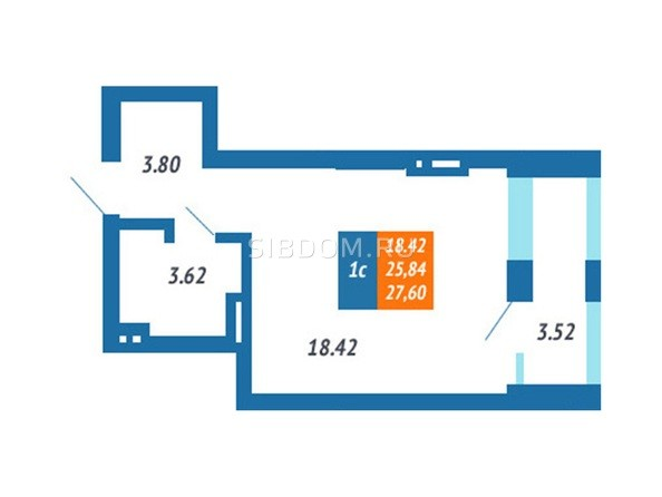 Планировка Студия 25,84, 27,6 м²