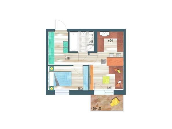 Планировки Жилой комплекс ЖИВЁМ эко-район, 10 квартал, дом 1 - Планировка двухкомнатной квартиры 36,65 кв.м