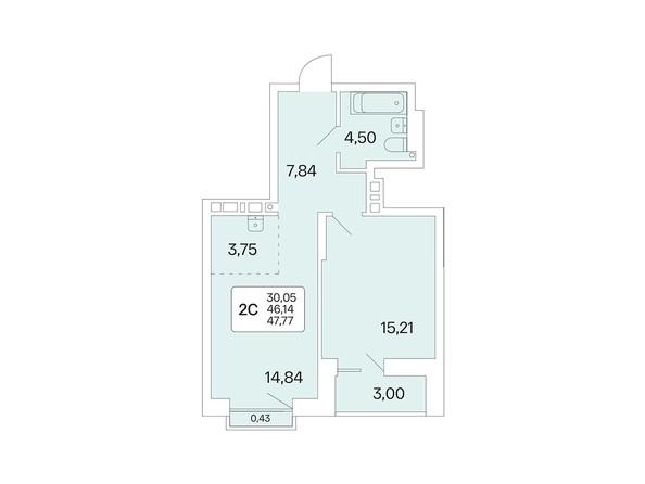 Планировка 2-комн 47,64, 47,77 м²