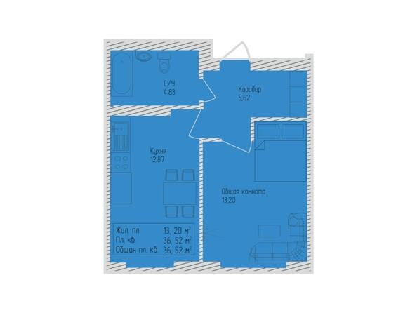 Планировки Жилой комплекс СЕВЕРО-ЗАПАДНАЯ, дом 5 - 1-комнатная 36,52 кв.м