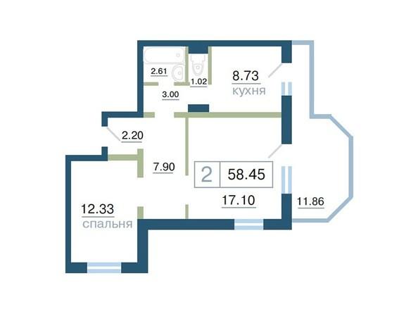 Планировка двухкомнатной квартиры 58,45 кв.м