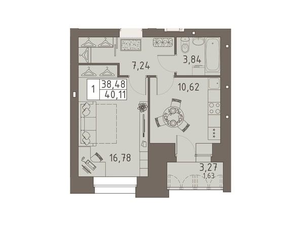 Планировки ВАВИЛОВСКИЙ ДВОРИК - 1-комнатная 40,11 кв.м
