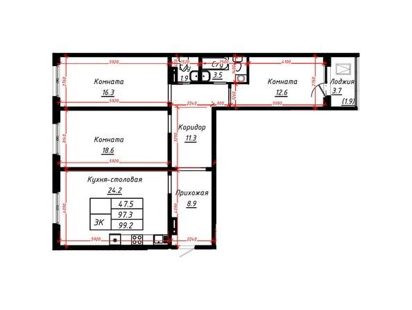 3-комнатная 99,2 кв.м