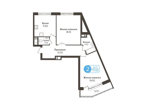 Планировки Жилой комплекс ОГНИ СИБИРИ, дом 2 - 2-комнатная 71,95 кв.м