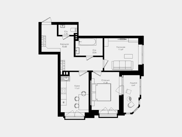 Планировки Жилой комплекс ЛОМОНОСОВ - 2-комнатная 55,18 кв.м