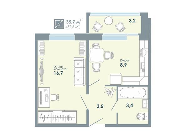 1-комнатная 35,7 кв.м