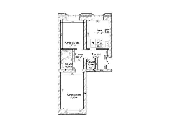 Планировки Жилой комплекс ГРИНАРТ, дом 5 - Планировка двухкомнатной квартиры 60,4 кв.м.