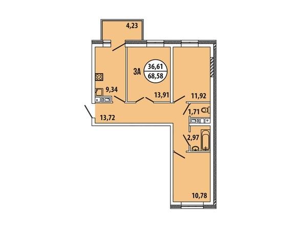 Планировка 3-комн 68,58, 68,59 м²