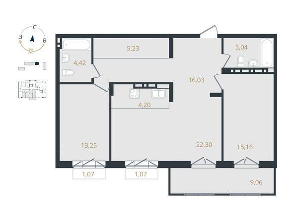 3-комнатная 85,63 кв.м