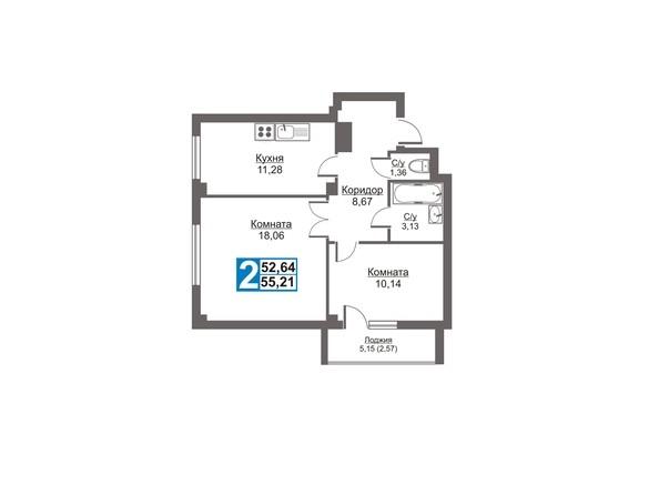 Планировки Жилой комплекс Калинина, 47б, дом 2 - Планировка двухкомнатной квартиры 55,21 кв.м