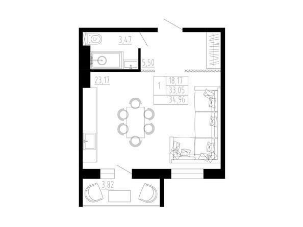 1-комнатная 35 кв.м