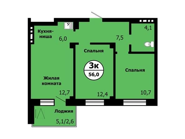 Планировка 3-комн 55,9 - 56 м²