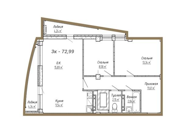 Планировки Жилой комплекс ДОМ НА СИБИРСКОЙ - Планировка трёхкомнатной квартиры 72,99 кв.м