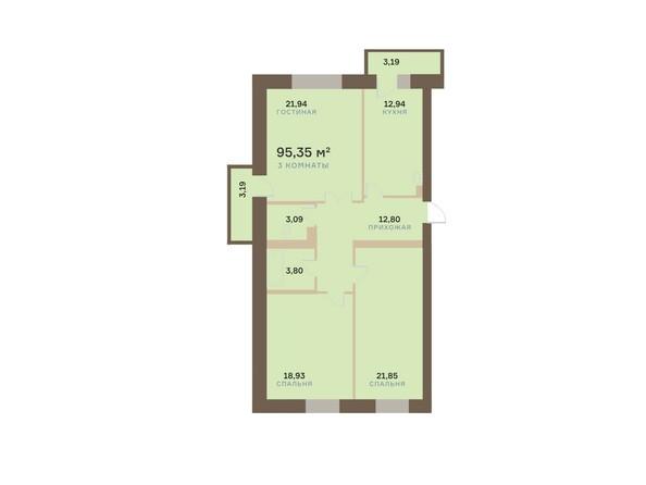 Планировки Жилой комплекс АЛЕКСАНДРОВСКИЙ, дом 1 - 3-комнатная 95,35 кв.м