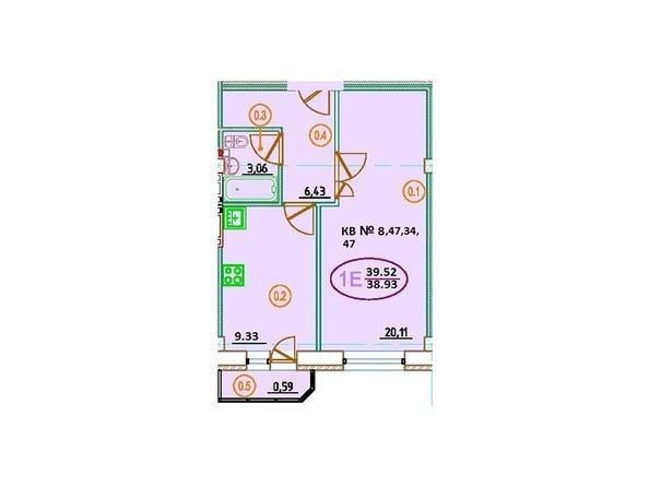 Планировка 1-комн 39,52 м²