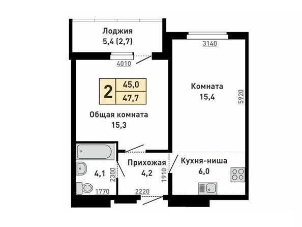 Планировка 2-комн 47,7 м²