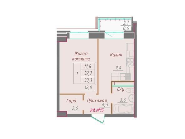 1-комнатная 33.3 кв.м