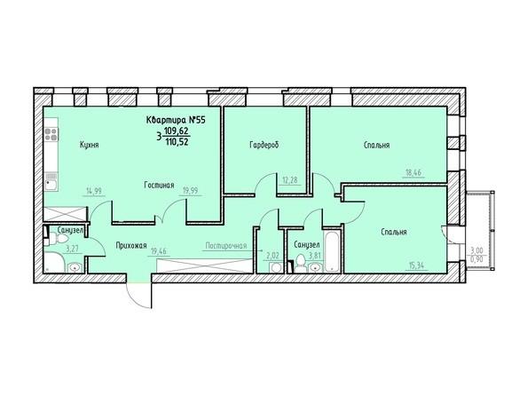 Планировка 3-комн 110,52 м²