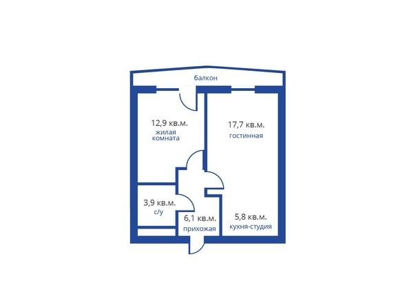 Планировка 2-комн 46,4 м²