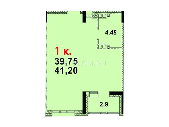 Планировка 1-комн 40,73 м²