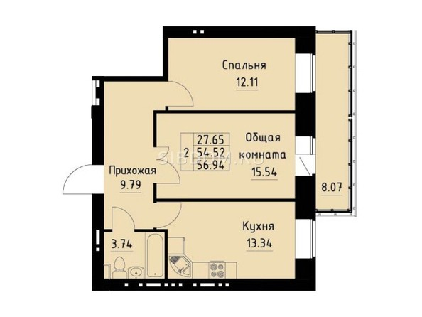 Планировка 2-комн 56,94 м²