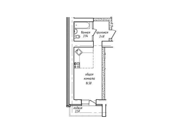 Планировки Жилой комплекс Антона Петрова, 221д/1 - Планировка однокомнатной квартиры 25,75 кв.м