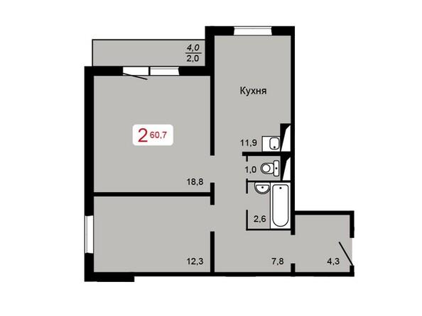 Планировка 2-комн 60,7 м²