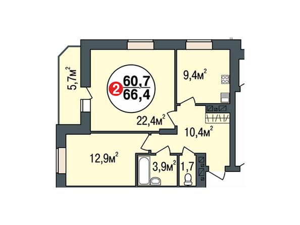 Планировки Жилой комплекс ПОКРОВСКИЙ, б/с 1, 2 - Планировка двухкомнатной квартиры 66,4 кв.м