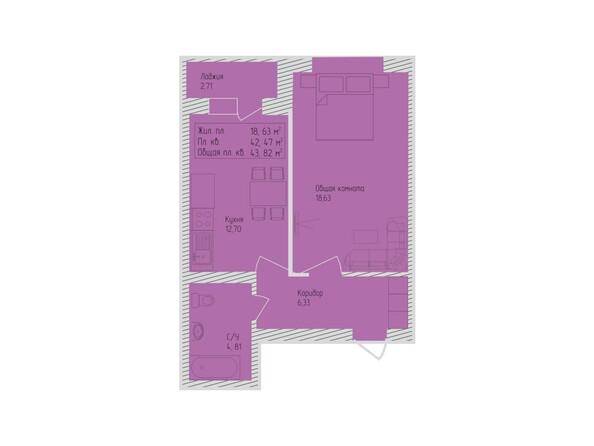 Планировки Жилой комплекс СЕВЕРО-ЗАПАДНАЯ, дом 5 - 1-комнатная 43,82 кв.м