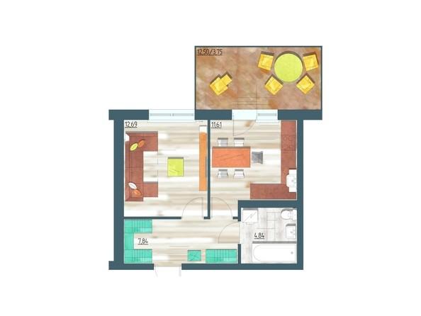 Планировки Жилой комплекс ЖИВЁМ эко-район, 3 квартал, дом 1 - Планировка однокомнатной квартиры 40,73 кв.м