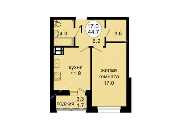 Планировки Жилой комплекс НОВАЯ ПАНОРАМА , дом 3 - Планировка однокомнатной квартиры 44,7 кв.м
