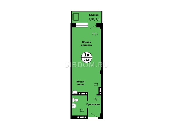 Планировка Студия 28,5 - 28,9 м²